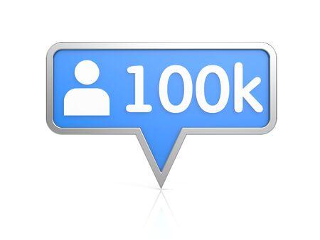 followers: Followers - social network icon. 3d illustration Stock Photo
