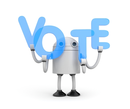 assent: Robot with word Vote. 3D illustration