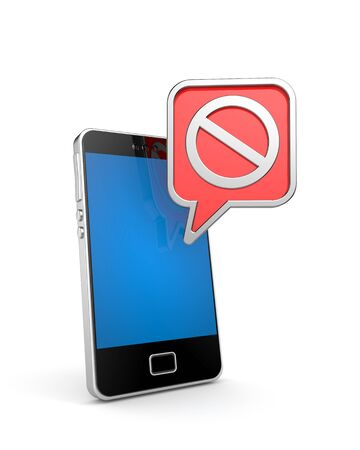 ban sign: Mobile phone with ban sign. 3d illustration Stock Photo