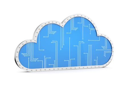 cloud network: Cloud technology computing. Your data in safety Stock Photo