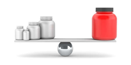 proteins: Compare supplements or drugs. 3d illustration