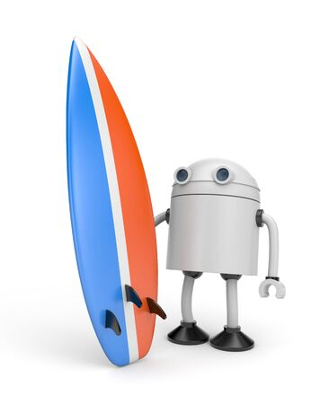 The robot hurries to surf. 3d illustration