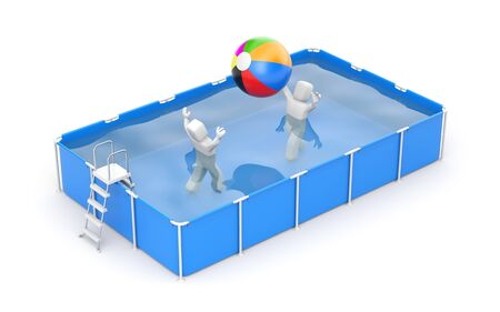 gainer: People play with a ball in the pool. 3d illustration Stock Photo