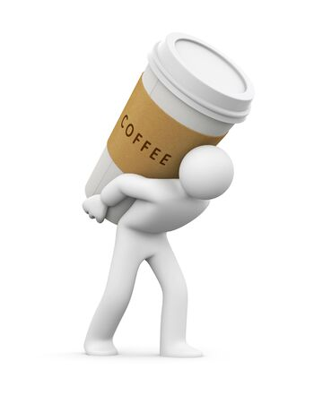to go: Person carries a cup of coffee. 3d illustration Stock Photo