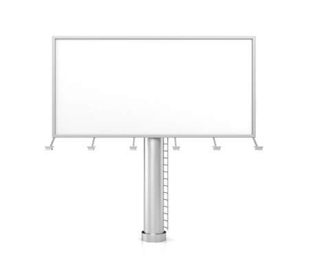 billboard background: Blank billboard for advertisement on white background. 3d illustration