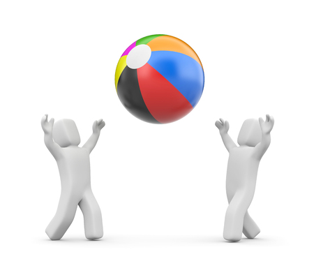 family outside: People playing with ball. 3d illustration Stock Photo