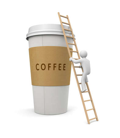 clamber: Person climb on a coffee cup. 3d illustration Stock Photo