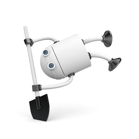 Robot with shovel. 3d illustration,