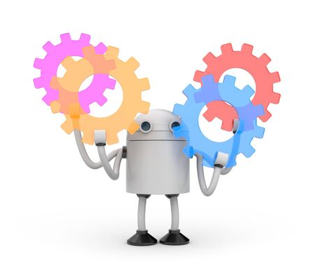 asterix: Robot with colorful gears. 3d illustration Stock Photo