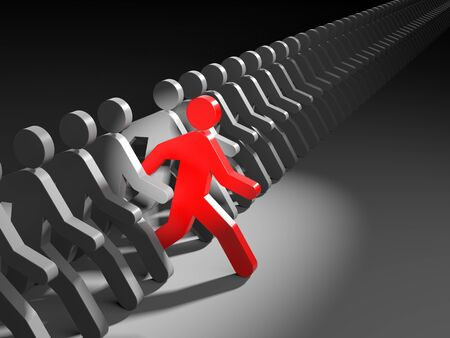 The person leads the competition. 3d illustration