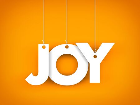 Word JOY hanging on the ropes. 3d illustration Stock Photo