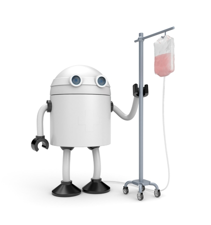 droid: Robot with dropper. 3d illustration Stock Photo