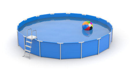 Round swimming pool with ball. 3d illustration Stok Fotoğraf
