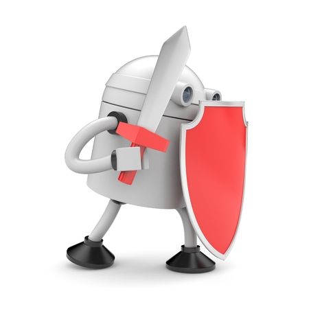 robot with shield: Robot ready to fight. 3d illustration Stock Photo