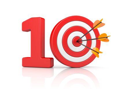 ten best: TEN - accurate shot. 3d illustration