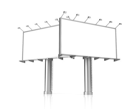 advertisements: Blank billboard for advertisement on white background. 3d illustration