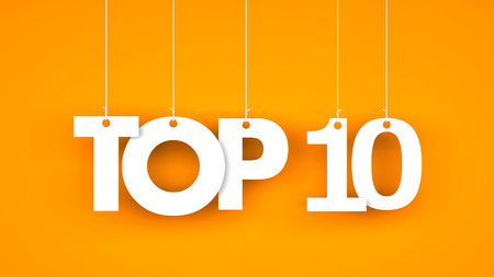 Top 10 - word hanging on the ropes. 3d illustration Stock Photo
