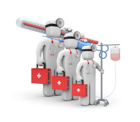 an injector: Medical team. 3d illustration Stock Photo