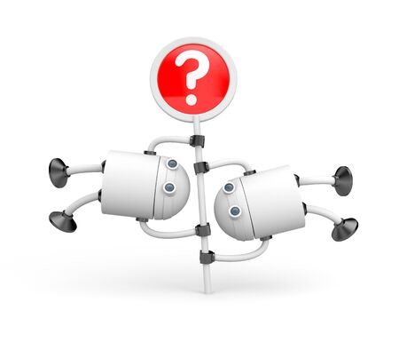 droid: Two robots turning on the question mark
