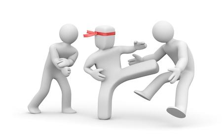 stabs: Square head man stabs round head man. 3d illustration