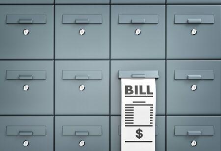 reciept: Bill. Mailboxes. Different metaphor. 3d illustration
