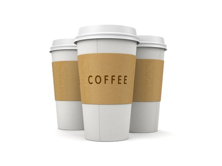 takeout: Coffee in thermo cap. Take-out coffee. 3d illustration Stock Photo