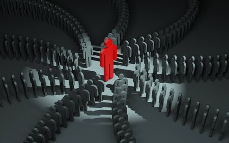 standing out: Standing out from the crowd. 3d illustration