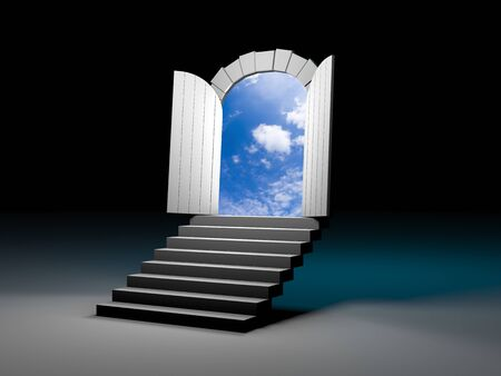 beautiful homes: Door to blue clear sky with steps. 3d illustration Stock Photo