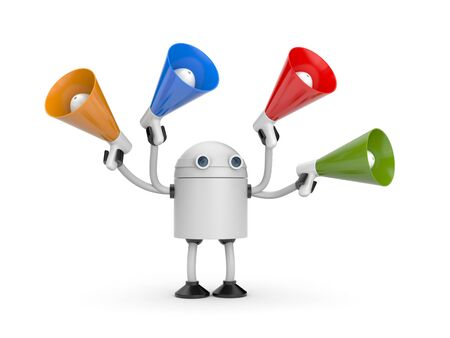 Robot with megaphones. 3d illustration