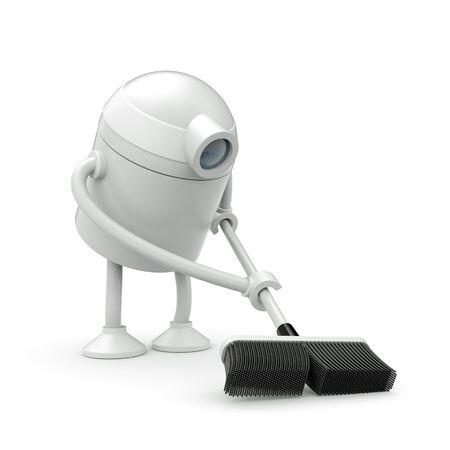robot limpiador con la fregona. 3d ilustración Foto de archivo