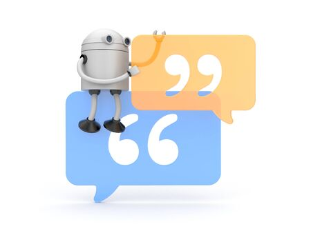 quotation: Robot and Quotation Mark. 3d illustration