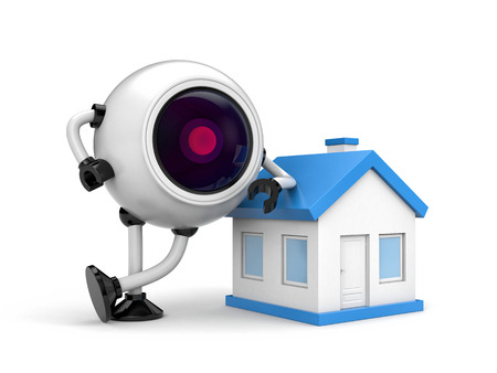 robot with shield: Home security concept - Robot CCTV camera. 3d illustration