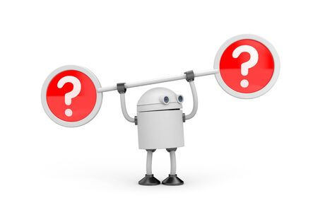 difficult decision: Robot and question marks. 3d illustration Stock Photo