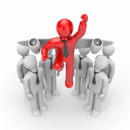 run out: Run out from the crowd. Startup metaphor. 3d illustration Stock Photo