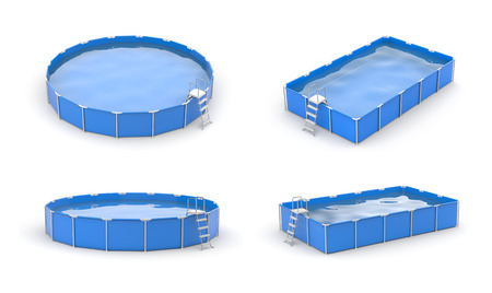 3d swimming pool: Swimming pool icon set. Blue pools.3d illustration Stock Photo