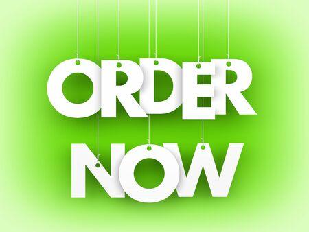 order now: Order now - word hanging on orange background. 3d illustration