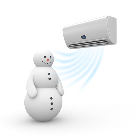 acclimatization: Air conditioner and snowman. 3d illustration
