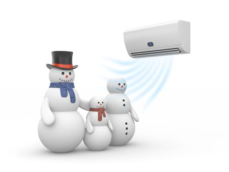 acclimatization: Air conditioner and snowman family. 3d illustration Stock Photo
