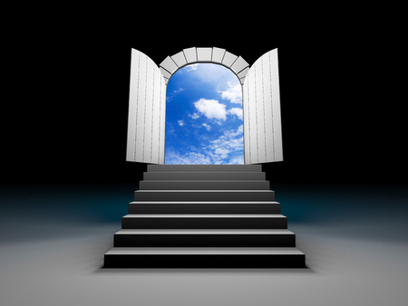 clear sky: Door to blue clear sky with steps. 3d illustration Stock Photo