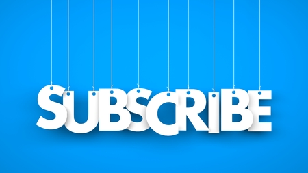 subscribing: Subscribe - word hanging on the ropes. 3d illustration