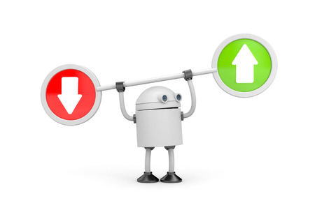 Robot with arrows. 3d illustration Stock Photo