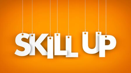skill: Skill Up - words hanging on the ropes. 3d illustration Stock Photo