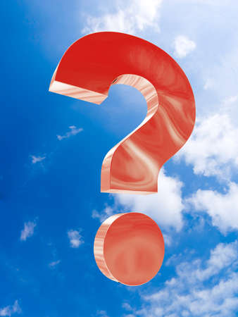 questioner: The big red question soars in the sky. 3d illustration Stock Photo