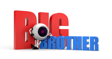 big brother: Robot as video camera with words - big brother. 3d illustration