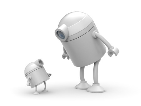 Robot family. Father and son. 3d illustration Stock Photo