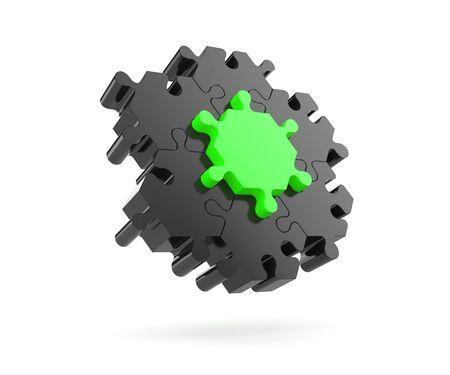 Main part - Hexagonal puzzles. 3d illustration Stock Photo