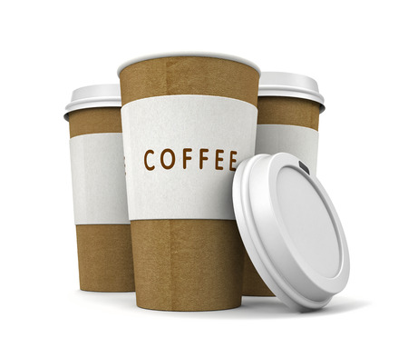 thermo: Coffee in thermo cap. Take-out coffee. 3d illustration Stock Photo