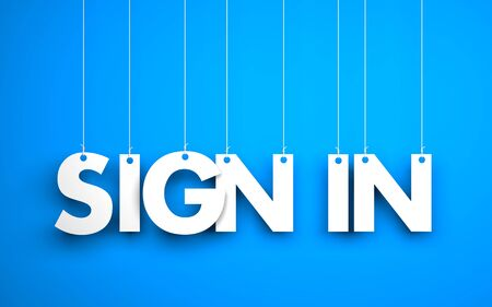 Sign in (login) - text hanging on the ropes. 3d illustration