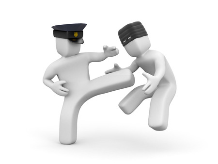 fall arrest: Policeman defused a thief. 3d illustration Stock Photo