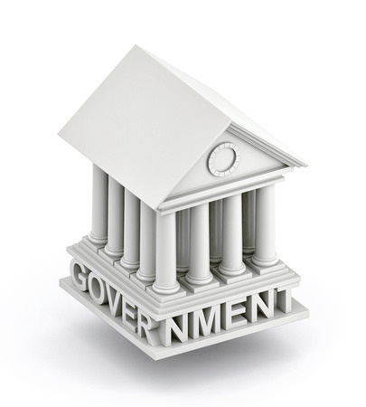 Government Icon. Government 3d building icon. 3d illustration